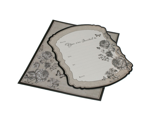 HiPP Invitation Kit La Belle (Pack of 25)-HiPP Invitation Kit La Belle, black & white invitation, vintage invitation,