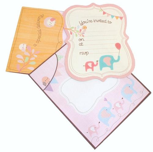 HiPP Invitation Kit Special Delivery Girl-HiPP Invitation Kit Special Delivery Girl, girls birthday invitation, baby shower invitation girls, elephant girls invitation, pink elephant invitation