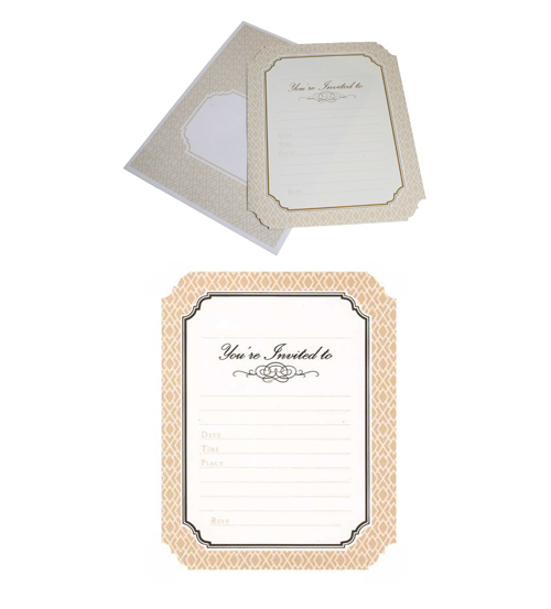 HiPP Invitation Kit Luxe Cream-HiPP Invitation Kit Luxe Cream, adult birthday invitation, cream & white invitation, damask invitation, HiPP, Fill-in invitation, engagement invitation cream, wedding invitation cream