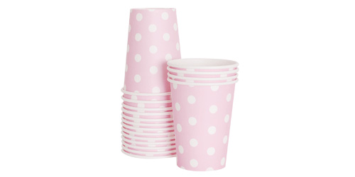 Paper Eskimo Marshmallow Pink Party Cup-Pink Party Cup, Paper Eskimo Marshmellow pink paper cup, Birthday Party cups, pink theme party, pink spot cups, girls party cups, baby shower cups