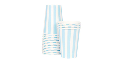 Paper Eskimo Powder Blue Party Cup-Paper Eskimo Powder Blue Stripe Party Cup, blue paper party cup, Birthday Party cups, blue theme party, blue stripe cups, boys party cups, baby shower cups, baby boy party