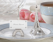 Evening in Paris Eiffel Tower Silver-Finish Place Card/Holder (set of 4)-�Evening in Paris� Eiffel Tower Silver-Finish Place Card/Holder, paris wedding, paris theme bomboniere, silver bomboniere, unique bomboniere,