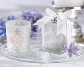 Fleur de lis Frosted Glass Tea Light Holder (set of 4)-Fleur de lis frosted glass tea light holder, tea light, bomboniere, candle, wedding