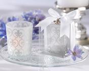 Fleur de lis Frosted Glass Tea Light Holder (set of 4)-Fleur de lis frosted glass tea light holder, tea light, bomboniere, candle, wedding