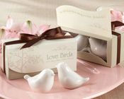 """Love Birds in the Window "" Salt & Pepper Shakers-Salt and pepper shakers, wedding, bomboniere, love birds"