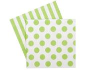 Paper eskimo Apple Green Napkins-Paper Eskimo apple green Napkins, green and white Party Napkins, spot Party Napkins, Christmas Napkins, green stripe Serviettes, green spot Serviettes