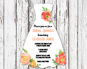 Bridal Shower Dress invitation - Floral-Bridal Shower Dress invitation - Floral Watercolor, watercolour, watercolour flowers, kitchen tea invitation, coral and apricot, pink and orange, green and pink,