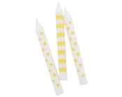 Paper Eskimo Yellow Limoncello Candles-Paper Eskimo Yellow Limoncello Candles, yellow party candles, yellow birthday candles, girls birthday candles, boys birthday candles, yellow and white candles, designer birthday candles