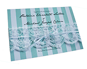 Tiffany Blue Stripes and Lace Invitation-Wedding Invitation, tiffany blue stripe invitation, white lace invitation, aqua and white invitation, turquoise and white invitation