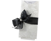 DL Glamour Pocket White Bouquet with Bow-Glamour Pocket, paperglitz, black and white invitation, glamorous invitation