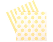 Paper eskimo Limoncello Napkins-Paper Eskimo limoncello yellow Napkins, yellow Party Napkins, spot Party Napkins, girls party Napkins, yellow Serviettes, yellow and white napkins, yellow and white serviettes