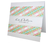 Lucy Check Square Invitation-Lucy Check Square Engagement Wedding Invitation, simple wedding invitation, budget wedding invitation, colourful wedding invitation, rainbow wedding invitation, pink and green wedding invitation