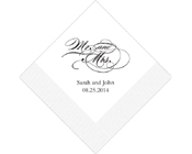 Personalised Printed Napkin - Mr and Mrs-Personalised Napkins, Personalised Wedding Serviettes, monogrammed napkins, Mr and mrs napkins, mr and mrs serviettes, mr and mrs wedding napkins, printed wedding serviettes