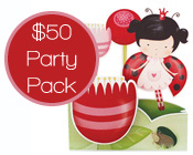 Lady Beetle Party Pack $50-Lady Bug Party Pack, Lady beetle party pack, budget lady beetle party pack, cheap lady beetle party supplies, paper eskimo lady beetle invitation pack, girls party supplies pack