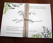 Rustic Green Botanical invitation-leaf invitation, wedding invitation, botanical invitation, garden wedding, green and white invitation, burlap ribbon, rustic wedding invite