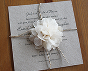 Recycled Paper Invitation with Flower-Recycled paper invitation, rustic invitation, rustic floral invitation, wedding invite, cream flower, brown kraft card