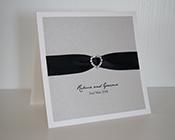 Silver and Black Heart Buckle Invitation-Silver and Black invitation, heart buckle, wedding invitation, elegant invitation, silver card, black ribbon
