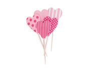 Paper Eskimo Pink Floss Heart Cupcake Topper-Pink Heart Cupcake topper, valentines day cupcake topper