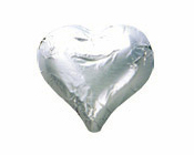 Shiny Silver Foiled Hearts-Fardoulis chocolate foiled Hearts, chocolate hearts, foil hearts, wedding confectionery, wedding chocolate, bomboniere, bonbonniere, fine chocolate, luxury bomboniere, luxury chocolate