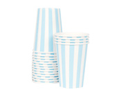 Paper Eskimo Powder Blue Party Cup-Paper Eskimo Powder Blue Stripe Party Cup, blue paper party cup, Birthday Party cups, blue theme party, blue stripe cups, boys party cups, baby shower cups, baby boy party